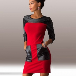Patchwork Fashion Three Quarter Sleeve Dress