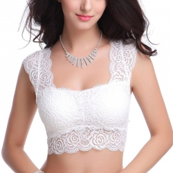 Littledesire Floral Lace Cut Out Crop Tube Top