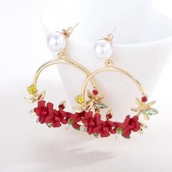 Littledesiere Red Flower Circle Dangle Earrings