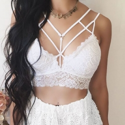 Littledesire Floral Lace Hollow Strappy Bralette Crop Top