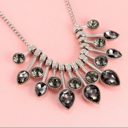 Littledesire Fashion Crystal Black & White Gemstones Bead Chain Necklace