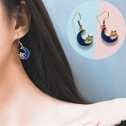 Littledesire Moon Star Blue  Dangle Drop Earrings