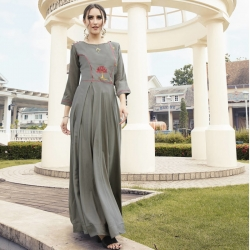 Littledesire Round Neck Embroidered Work Grey Gown