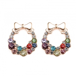 Fashion Gold Bowknot Cube Crystal Stud Earrings