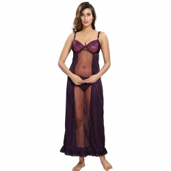 Littledesire Lace 3 pcs Nightwear With Robe Set