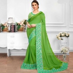Latest Design Embroidered Bangalori Silk Party Wear Saree