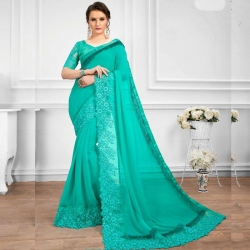 Latest Design Embroidered Bangalori Silk Party Wear Saree