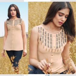 Littledesire Embroidered Sleeveless Georgette Kurti Top