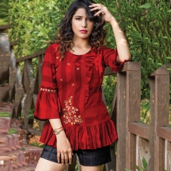 Bell Sleeve Red Floral Embroidered Short Kurti Top