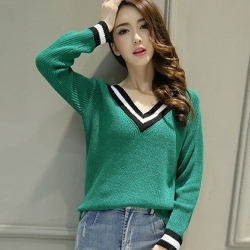 Littledesire V-Neck Style Casual Flat Knitted Women Sweater