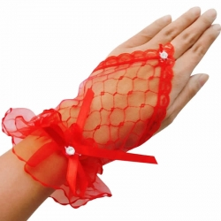 Lace Wrist Fingerless Short Fancy Partywear Dancing Gloves