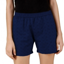 Navy Blue Cotton Sleeping Shorts