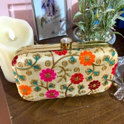 Floral Embroidery Party Wear Clutch Purses With Chain Bag