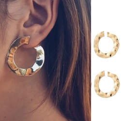 Littledesire Golden Punk Round Stud Earring