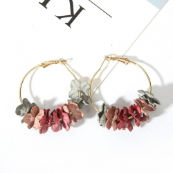 Flower Petal Alloy Circle Hoop Earrings