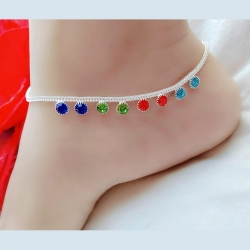 Silver Plated Color-full Stone Anklet Payal