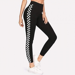 Side Checkered Print Cotton Rib Jeggings