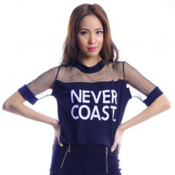 Never Coast  Print Half Sleeves Crop Top