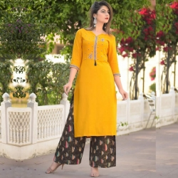 Littledesire Embroidery work Kurta with Plazzo