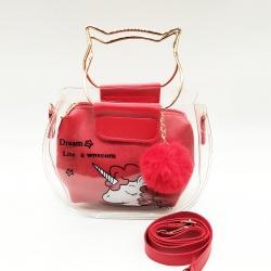 Lovely Girl Print Transparent Shoulder Jelly Sling Bag
