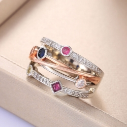 Colorful Cubic Zirconia Shion Cross Geometric Ring