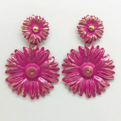 Floral Colorful Big Size Drop Earrings