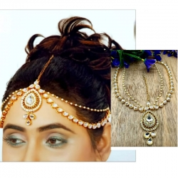 Gold Plated Mathapatti White Stone Hair Band