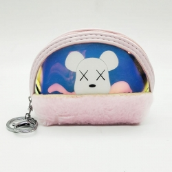 Rabbit Fur Clutch Wallet With Keychain 4.5 inch