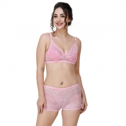 Net Lace Floral Embroidered Bra & Boy Short Panty Set