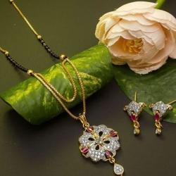 Beautiful Alloy CZ Golden Plated Mangalsutra & Earrings Set