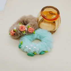 Pearl Fluffy Faux Fur Floral Rubber Bands Pack of 2