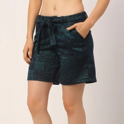Self Texture Printed Shorts for Women
