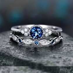 2Pcs/Set Luxury Blue Crystal Silver Plated Rings