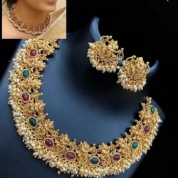 Stylish Gold-plated Necklace With Ganpati Earrings