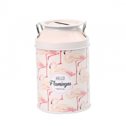 Cylinder Piggy Bank Tin Flamingos Vase Coin Bank With Lid