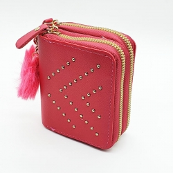 Double Zipper Cute Candy Colours Mini Card and Coin Wallet