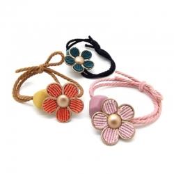 Floral Velvet Floral Rubber Bands Pack of 3