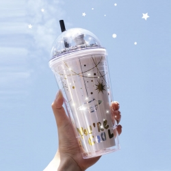 Holographic Glitter Space Sipper With Straw Water Bottle 480ml