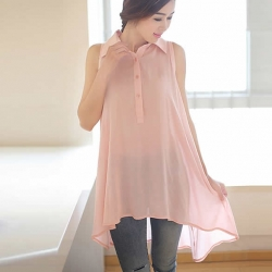 Sleeveless Lapel Collar Loose Casual Dress