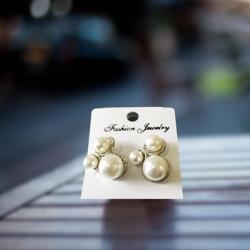 Three Imitation Pearl Stud Earring