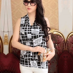 Korean Silk Sleeveless Black n White Check  Top