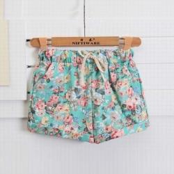 Floral Elastic Waist Drawstring Shorts