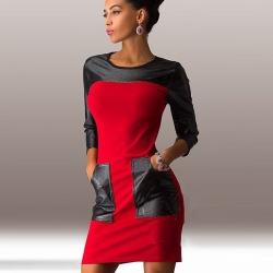 Patchwork Fashion Three Quarter Sleeve Dress