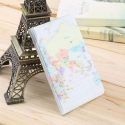 Travel Utility Simple Passport or ID Card Cover Holder (Beige Map)