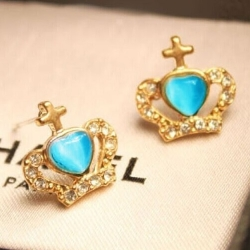 Cute little Blue Heart Rhinestone Crown Earrings