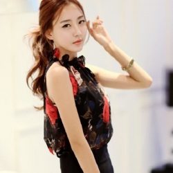 Floral Sleeveless Casual Chiffon Top