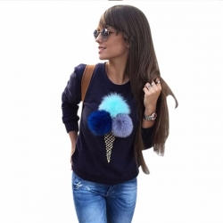 Colourful Plush Ball Sweatshirt