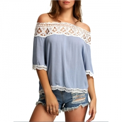 Off Shoulder Loose Lace Tops