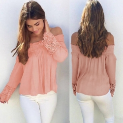 Floral Lace Long Sleeve Off Shoulder Top