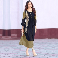 Moss Green n Georgette Embroidered Designer Kurti